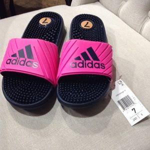 NWT Pink Adidas slides size 7